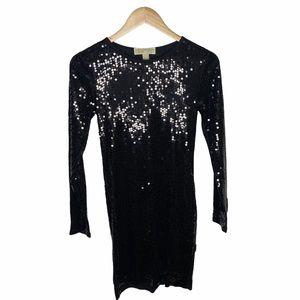 Michael Kors Long Sleeve Black Sequin Dress Sz XS